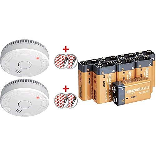 ELRO FS1805 2-Pack Rauchmelder mit Magnetklebe Kit, 5 Jahre Batterie und Garantie/DIN EN14604 Weiß 2 Stück & Amazon Basics Everyday Alkalibatterien 600 mAh, 9V, 8 Stück