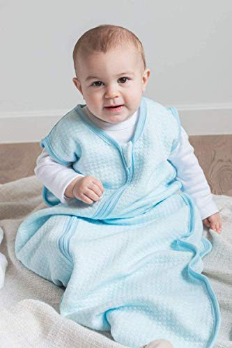 Baby Sleeping Bag and Sack 12 – 18 Months, 1 TOG,Super Soft and Warm Unisex Wearable Blanket, Ideal for All Seasons. 100% Organic Cotton Lightly Padded,Cloud – Blue.