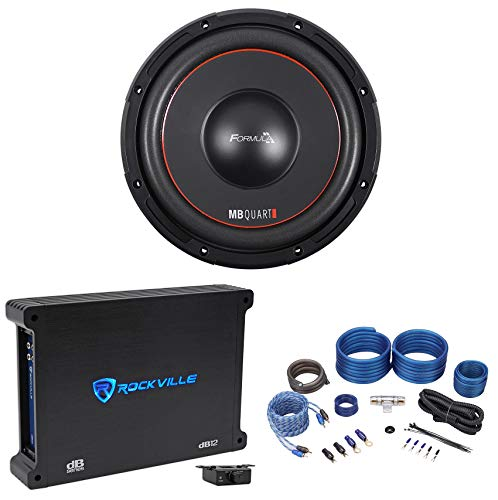 "MB QUART FW1-254 10"" 1200 Watt Car Audio DVC Subwoofer+Mono Amplifier+Amp Kit"
