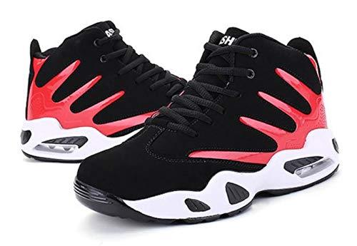 [モノリリ] ハイカット 白黒 滑らない 靴 ジム シューズ メンズ スニーカー 3色展開(黒、赤、青) トレーニング ミッドカット 内履き バッシュ 学生 運動靴 室内用 室内履き (赤 25)