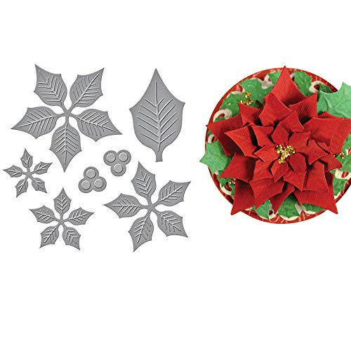 Layered Poinsettia Etched Cutting Dies,DIY Scrapbooking Artist Metal Cutting Dies Scrapbooking Crafting Paper Card Make Emboss Stencil Template 12x10.6 cm