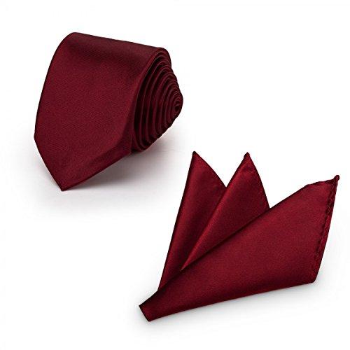 Rusty Bob - Krawatte mit Einstecktuch (in vielen Farben) - für die Verlobung, die Hochzeit - Schlips mit Taschentuch für das Sakko - 2er-Set - Dunkelrot-Weinrot