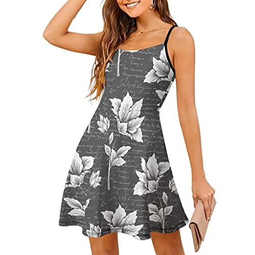 Gamoii Vestido sin mangas para mujer, vestido de playa, vestido de verano, floral, retro, vintage, tirantes finos, vestido de columpio, vestido de tiempo libre blanco S
