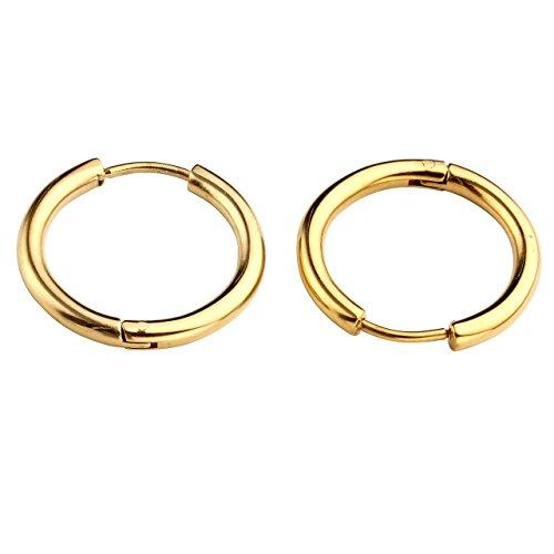 PiercingJ Unisex 18G 8-16mm Edelstahl Creolen Set Creolen Hinged Huggie Ohrring Ohrpiercing Silber/Gold/Schwarz