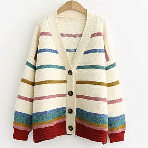 YWSZJ Nuevo suéter cárdigan de Rayas para Mujer, Ropa de Calle a la Moda de otoño, suéter Holgado para Mujer, Chaqueta de Punto con Cuello en V para Mujer