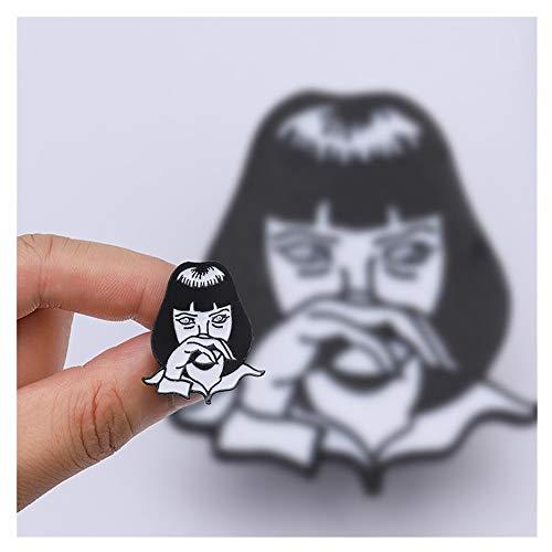 Aqiong KAERMA Pulp Fiction Emaille Pin Quentin Tarantino Classic Movie Cool Girl Mia Gothic Rucksack Mützen Accessoires Punk Broschen Pins Dekoratives Zubehör (Size : 1pcs)