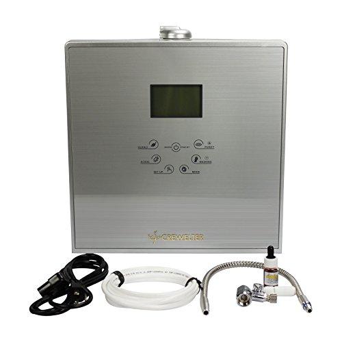 Crewelter 9 Plates Platinum Titanium Alkaline Water Ionizer Machine Superior Multilayer Filtration UV Lamp