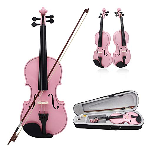 BLKykll Violine Set Größe 4/4,Koffer + Bogen + Zubehör Kolofonium Aus Holz Für Anfänger (Schwarz) Geige Volle Geschenke Für Musikliebhaber Lernen