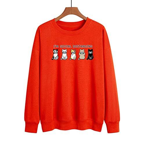 LXHcool Coron_avirus I'm Social Distancing Mask Cat Print Short Sleeve Sweatshirt (Color : Red, Size : XX-Large)
