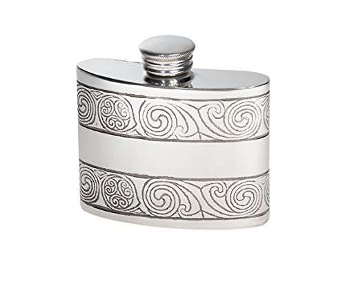 Wentworth Pewter - Small Kells Celtic Pewter Kidney Flask,Hip Flask, Spirit Flask, 2oz capacity