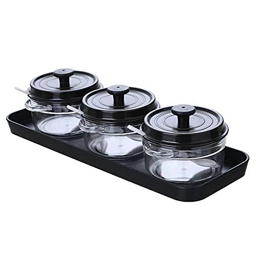 Caja de especias de cocina, 34 x 12 cm, 3 unidades/set blanco/café ABS para condimentos de cocina, caja de condimentos con bandeja para sal, botella de condimento, cocina, caja de especias