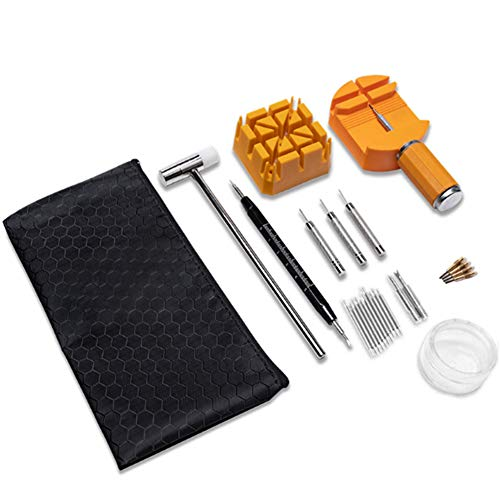 Double Head Mallet Hammer, Uhrmacherhammer mit Aufbewahrungstasche, Uhrmacherwerkzeug für Uhrenarmband-Verbindungsstifte-Entferner (8 Stück)