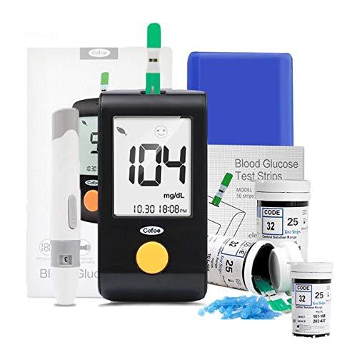 Blutzuckermessgeräte, Schwangere Frauen und ältere Blutzuckermessgerät mit 100 Teststreifen und 100 Nadeln, for Home Monitoring (Schwarz) (Size : C (Instrument 300PCS Test Strip))