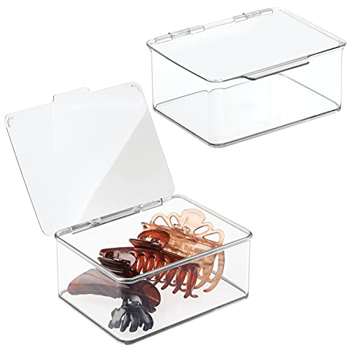 mDesign Plastic Stackable Bathroom Vanity Countertop Storage Cosmetic Organizer Box with Hinged Lid for Makeup, Beauty, Hair, Nail Supplies, 2 Pack - Clear