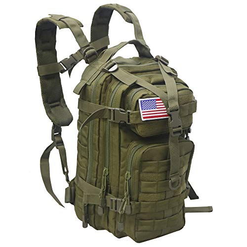 ARMYCAMO Small 30L Rucksack Military Tactical Backpack Flag Patch Outdoors Bug Out Bag, Green, 16.5  x 11  x 9