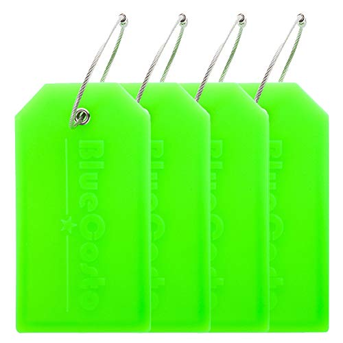 BlueCosto 4x Luggage Tags Suitcase Tag Bag Identifier ID Labels Office Travel Label - Green