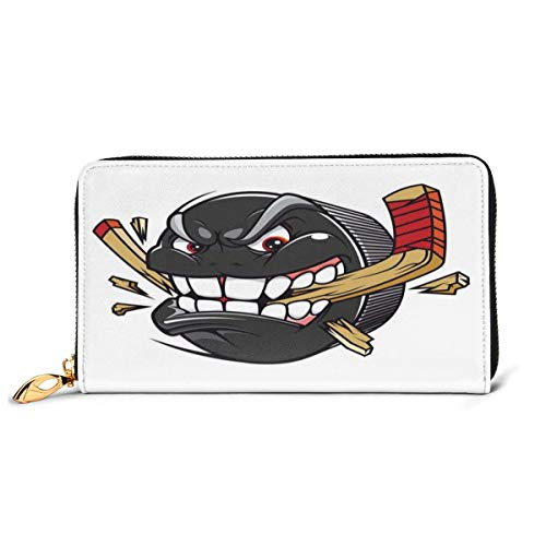 Women's Long Leather Card Holder Purse Zipper Buckle Elegant Clutch Wallet, Cartoon Hockey Puck Bites and Breaks Hockey Stick Championship Game Mascot Character,Sleek and Slim Travel Purse