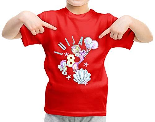 wolga-kreativ T-Shirt Geburtstag Mädchen ich Bin Schon 1 2 3 4 5 6 7 8 9 Jahre mit Namen Meerjungfrau Luftballon Geburtstagsshirt personalisiert Kindergeburtstag Geschenk Kinder