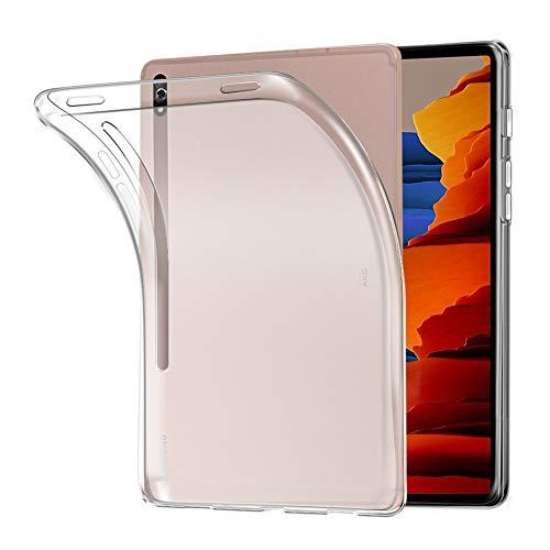 A-VIDET Hülle für Samsung Galaxy Tab S7+12.4 Zoll 2020,Ultradünnes Silikon Mattierte Softschale Rundumschutz Anti-Fall Anti-Fingerabdruck Gehäuse Einfache Rückenschutzhülle für Galaxy Tab S7 Plus-Weiß