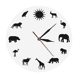 N /A Wall Clock African Animals Silhouette Wall Clock Safari Wild Animals Minimalist Design Modern Wall Clock Kid Room Nursery Wall Watch Clock/White