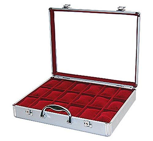 Uhrenkoffer Uhrenbox für 18 Uhren Aluminium K10 ROT 45