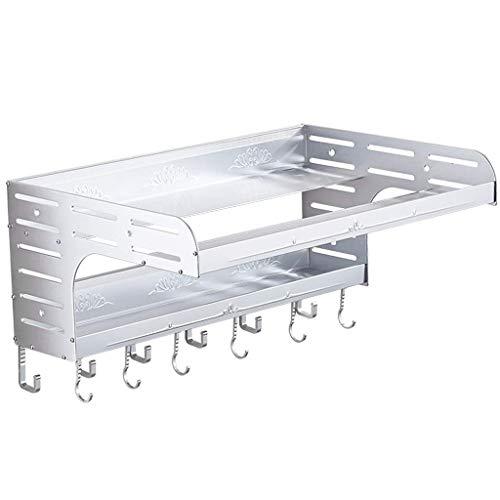 Tokyia Bastidor de aluminio del espacio de microondas estante colgante de pared de la cocina rejilla del horno de almacenamiento en rack de almacenamiento en rack Pot 2 capas Suministros ménsula (Colo