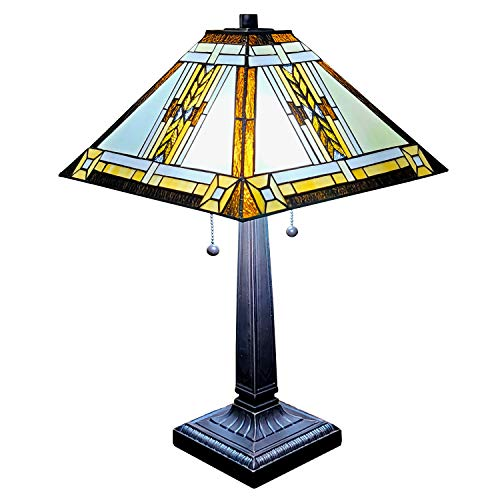 Amora Lighting Tiffany Style Table Lamp Banker Mission 23' Tall Stained Glass White Tan Brown Yellow Antique Vintage Tribal Light Decor Bedside Living Room Bedroom Handmade Gift AM099TL14B Nightstand