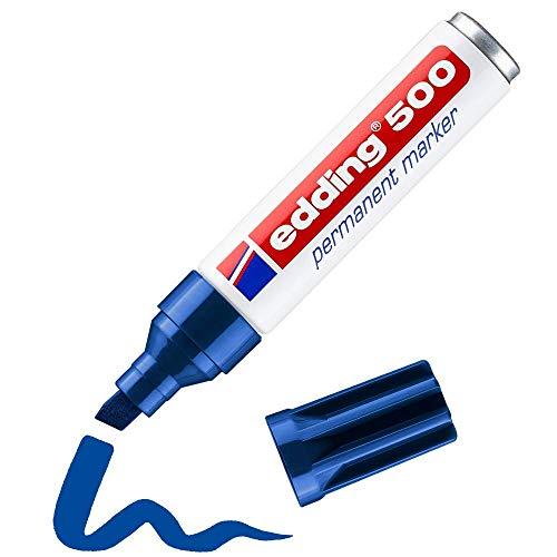 Edding 500 marcador permanente - azul - 1 rotulador - punta biselada 2-7mm - resistente al agua, de secado rápido, rotuladores indelebles - para cartón, plástico, madera, metal, vidrio