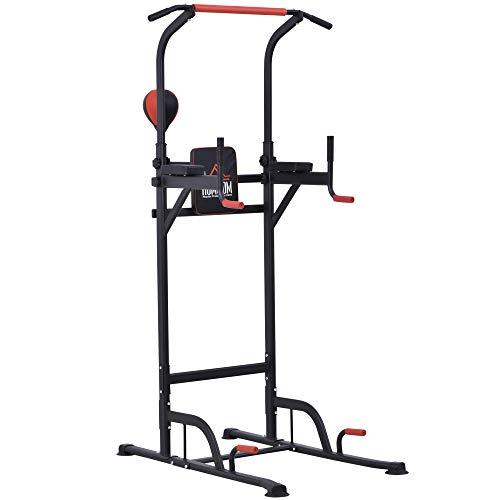 HOMCOM Station de Traction Musculation Multifonctions Punching Ball Chaise Romaine Hauteur réglable Acier Noir Rouge