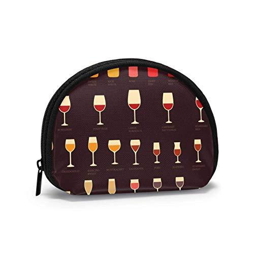 Kleine Geldbörse für Weinglas, Cocktail, Münzbörse, mit Reißverschluss, Kosmetiktasche, Make-up-Tasche, Mehrzweckbeutel
