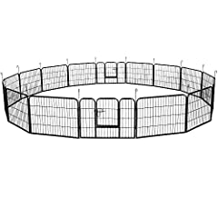 🐶【High Quality Material】this puppy playpen cage is made of strong and high quality Iron material, sturdy and durable to use and and hard to be damaged by small pets.each fence is connected with pins, which can fix the fence and make it easy to move. ...