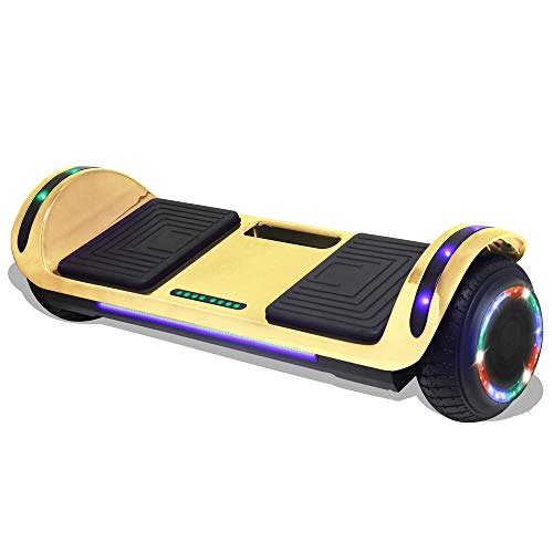 Longtime Kids 2020 Edition Hoverboard Self Balancing Scooter with LED Lights Flashing Wheels - UL Certified (Chrome Gold)