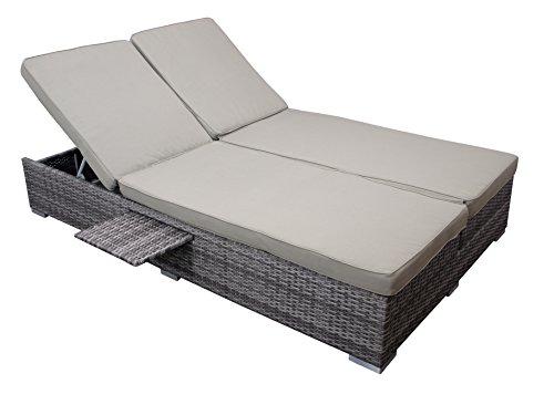 Dubbele functionele ligstoel/tuinbank CALERO, aluminium frame + polyrotan vlechtwerk grijs bicolor, grijs kussens