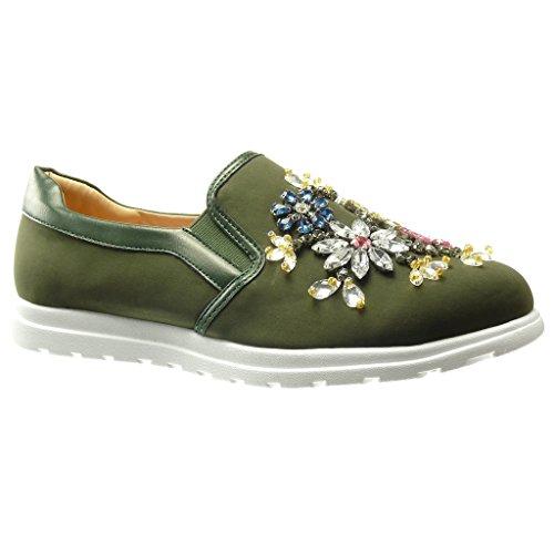 Angkorly - Damen Schuhe Sneaker Mokassin - Slip-On - Sneaker Sohle - Blumen - Schmuck - Fantasy Flache Ferse 0 cm - Grüne WH822 T 37