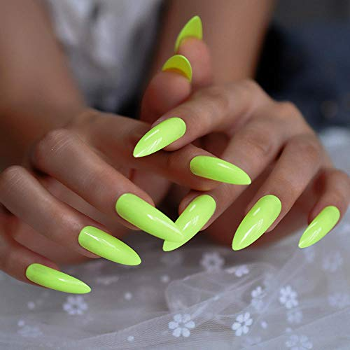 CLOAAE Neon Green Fluorescent Press On Fake Nails Extra Long Pointy On Fake Fingerprints Free Adhesive Tapes