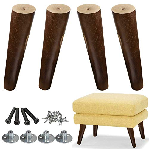 AORYVIC Wood Sofa Legs 8 inch Pack of 4 Walnut Finished Furniture Feet Replacement Legs Universal for Coffee Table IKEA Buffets Bed Sideboards Cupboard Dresser
