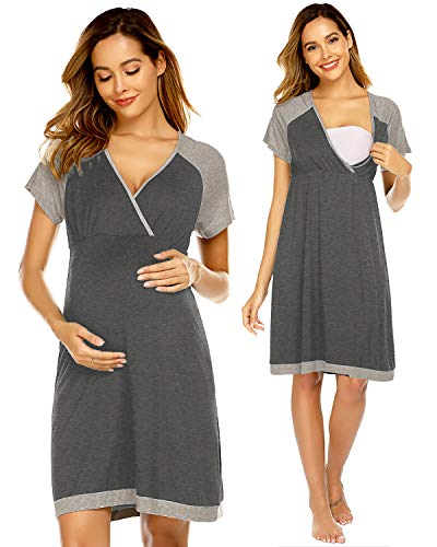 Ekouaer Nursing Nightgown Soft Pajamas V Neck Short Sleeve Breastfeeding Sleepwear (Gray S)