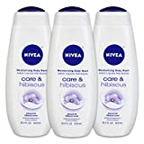 NIVEA Care & Hibiscus Moisturizing Body Wash - Floral Scent for Normal Skin - 16.9 fl oz Bottle, Pack of 3