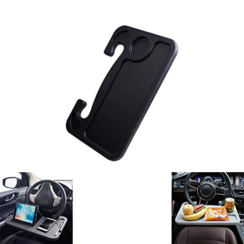 Universal Car Steering Wheel Tray, Two-Sided Design Portable Food Drink Table Cup Holder Laptop Desk (Black)