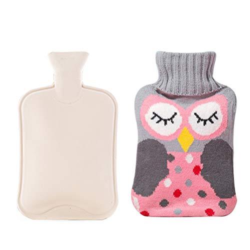Phayee Wärmflasche, 2 Liter Klassische Gummi-Wärmflasche mit süßem Eulen-Strickbezug, Robust und Langlebig