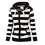 Damen Hoodie stylischer Herbst Winter Jacke Gestreift Kapuzenpullover Female Zipped Jacket Langarmshirt Sweatshirt Strickjacke Locker Mode Pulli Pullovervon Innerternet