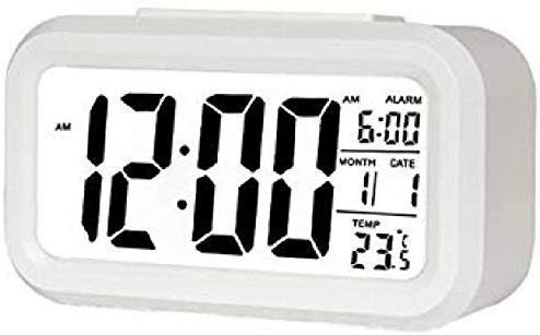 Case Plus Digital Smart Backlight Battery Operated Alarm Table Clock with Automatic Sensor, Date & Temperature (White Alarm Clock 1 Pack)