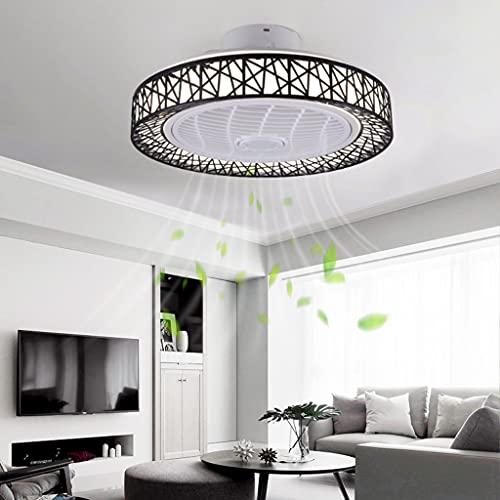 Ventilador De Techo Moderno Con Iluminación LED Silencioso Candelabro Regulable Con Control Remoto Ajustable 3 Velocidades De Viento Dormitorio Habitación Infantil Comedor Sala Lámpara De Techo,Negro