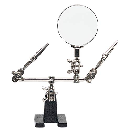 AORAEM Helping Hands Magnifier with Dual Adjustable Alligator Clips in 2.5X Magnifying Glass Soldering Station for Crafting, Hobby, Micro Objects (#1)