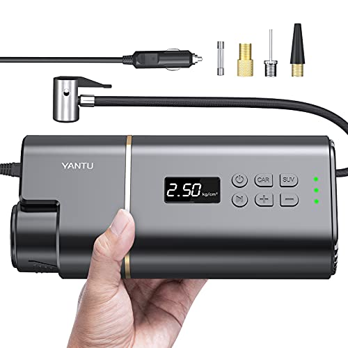 YANTU Portable Air Compressor Tire Inflator 150 Psi Wired Electric Car Air Pump, Dc 12V Tire Pump with Digital Display for Car, Bicycle, Balls & Other Inflatables