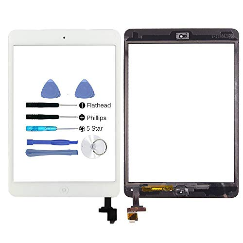 Hedywei Replacement Front Panel/Touch Screen for iPad Mini with Digitizer, Includes Integrated Circuit (IC Chip), Mounting Tools and Adhesive iPad mini bianco