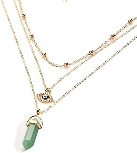 Zaaqio Necklace Multicolored Turkish Ethnic Style Faceted Crystal Quartz Necklace Pendant Lady S Layered Necklace Stone Chain