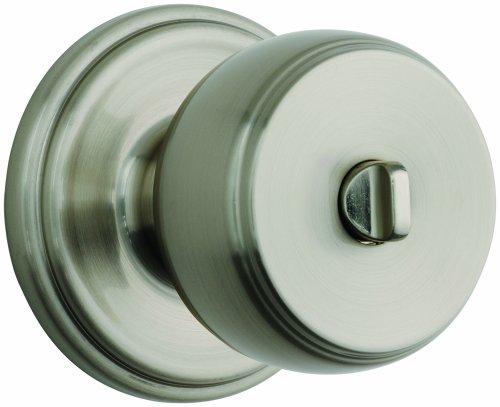 Brinks Push Pull Rotate Door Locks Ganyon Privacy Bed/Bath Knob, Satin Nickel, 23022-119