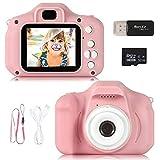 ZStarlite Cámara Digital para Niños, 1080P 2.0'HD Selfie Video Cámara Infantil, Regalos Ideales para Niños Niñas de 3-10 Años, con Tarjeta TF 32 GB, Lector de Tarjetas (Rosa)