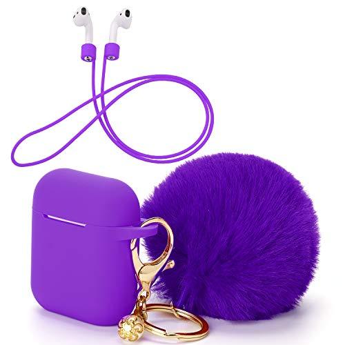 OOTSR Funda Protectora con Lindo Llavero Pompom Ball, Compatible con Apple AirPods Estuche de Carga, Cubierta Protectora de Silicona y Correa Anti-perdida para Apple AirPods como Regalos(púrpura)